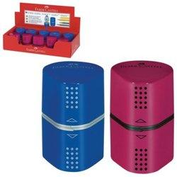"""Точилка FABER-CASTELL """"Trio Grip 2001"""", 3 отверстия, 2 контейнера, пластиковая, красная/синяя, 183801"""