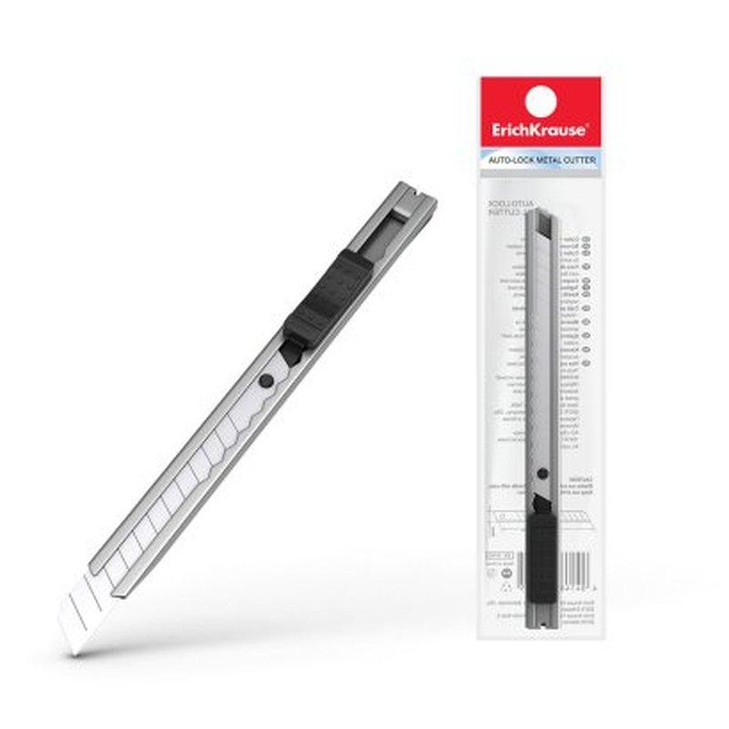 Нож канцелярский с автоматической фиксацией лезвия ErichKrause® Ferro, 9мм (в пакете) 19160