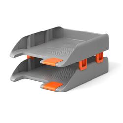 Набор из 2 пластиковых лотков для бумаг с боковыми креплениями ErichKrause® Forte, серый 20151