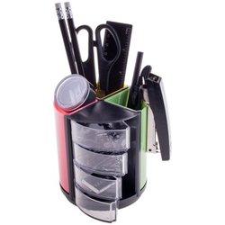 """Настольный органайзер OfficeSpace """"Витраж"""", 11 предметов, вращающийся, черный/цветной SS158_3183/ 205594"""