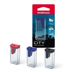 """Пластиковая точилка ErichKrause """"CITY"""" на одно отверстие,  в блистере 21831"""
