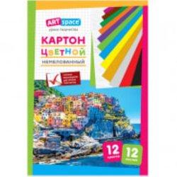 Картон цветной A4, ArtSpace, 12л., 12цв., немелованный, в папке Нкн12-12_6960