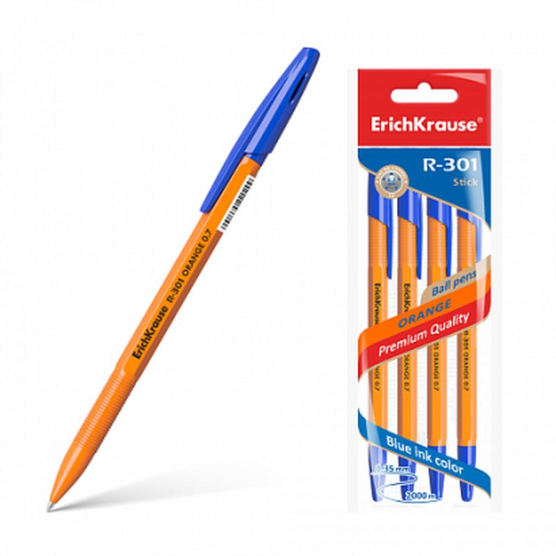 Ручка шариковая ErichKrause® R-301 Orange Stick 0.7, цвет чернил синий (в пакете по 4 шт.) 22189