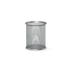 Подставка металлическая для пишущих принадлежностей цилиндрическая ErichKrause® Steel, серебряный 22502