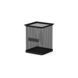 Подставка металлическая для пишущих принадлежностей прямоугольная ErichKrause® Steel, черный 22503