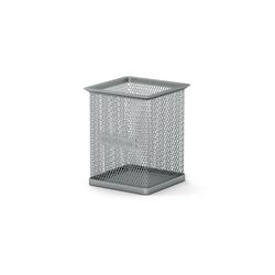 Подставка металлическая для пишущих принадлежностей прямоугольная ErichKrause® Steel, серебряный 22504