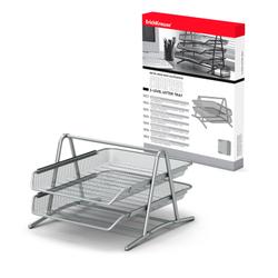 Лоток металлический для бумаг 2-х уровневый ErichKrause® Steel, серебряный 22512