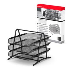 Лоток металлический для бумаг 3-х уровневый ErichKrause® Steel, черный 22513