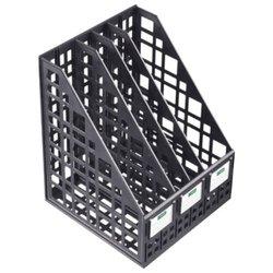 Лоток вертикальный для бумаг СТАММ (245х240х300 мм), 4 отделения, сетчатый, сборный, черный, ЛТ83