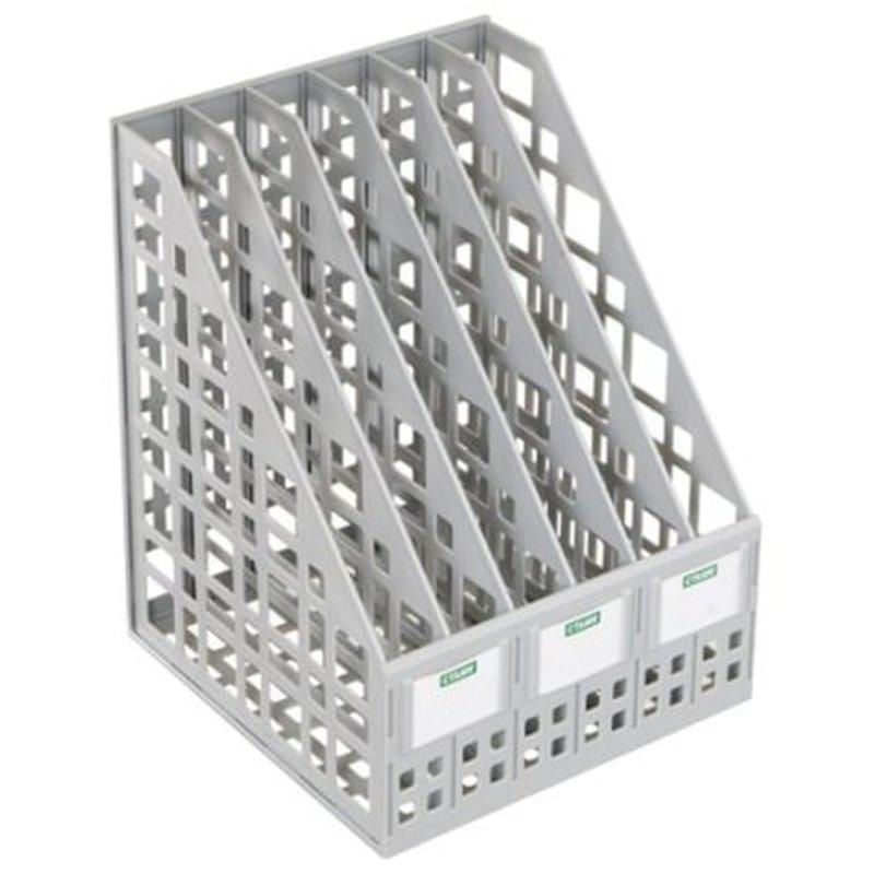 Лоток вертикальный для бумаг СТАММ (245х240х300 мм), 6 отделений, сетчатый, сборный, серый, ЛТ86