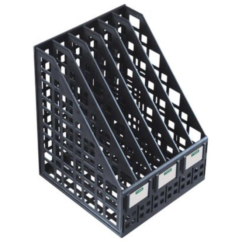 Лоток вертикальный для бумаг СТАММ (245х240х300 мм), 6 отделений, сетчатый, сборный, черный, ЛТ87