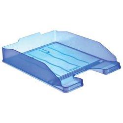 """Лоток горизонтальный для бумаг СТАММ """"Эксперт"""", А4 (340х255х63 мм), тонированный голубой, ЛТ204"""