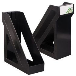 """Лоток вертикальный для бумаг, увеличенная ширина (265х100х285 мм), СТАММ """"Базис"""", черный, ЛТ32"""