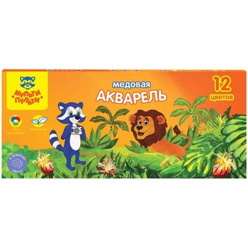 """Акварель Мульти-Пульти """"Енот в джунглях"""", медовая, 12 цветов, без кисти, картон АК_10698"""
