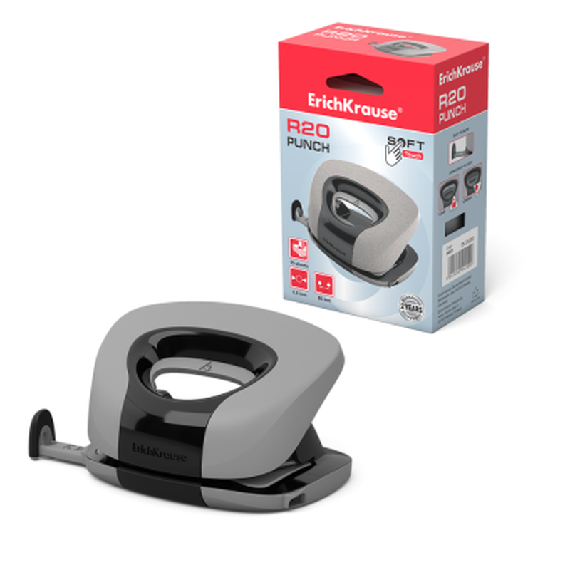 Дырокол ErichKrause® R20 Soft touch до 15 листов, серый 24200