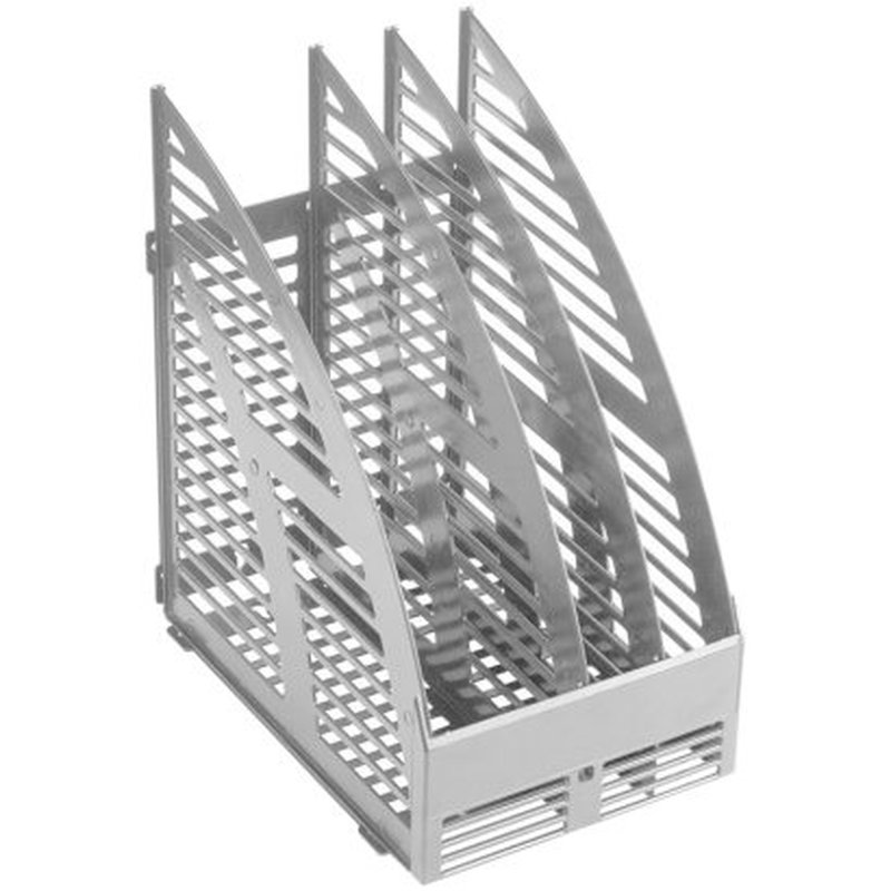 Лоток для бумаг вертикальный OfficeSpace, сборный, 3 отделения, серый. 244239