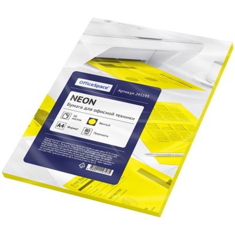 Бумага цветная OfficeSpace neon А4, 80г/м2, 50л. (желтый) 245193