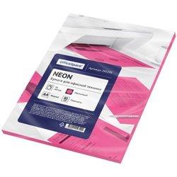 Бумага цветная OfficeSpace neon А4, 80г/м2, 50л. (малиновый) 245195
