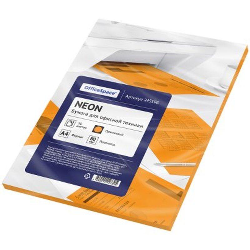 Бумага цветная OfficeSpace neon А4, 80г/м2, 50л. (оранжевый) 245196