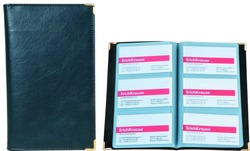Визитница пластиковая на 96 карточек, (кляссер на 3 визитки), гибкая обложка, PU 25015