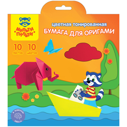 Цветная бумага для оригами Мульти-Пульти, 200*200мм, 10л., 10цв., в папке с европодвесом БтО10_11100