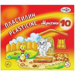 """Пластилин Гамма """"Мультики"""", 10 цветов, 200г, со стеком, картон. упак. 280017"""