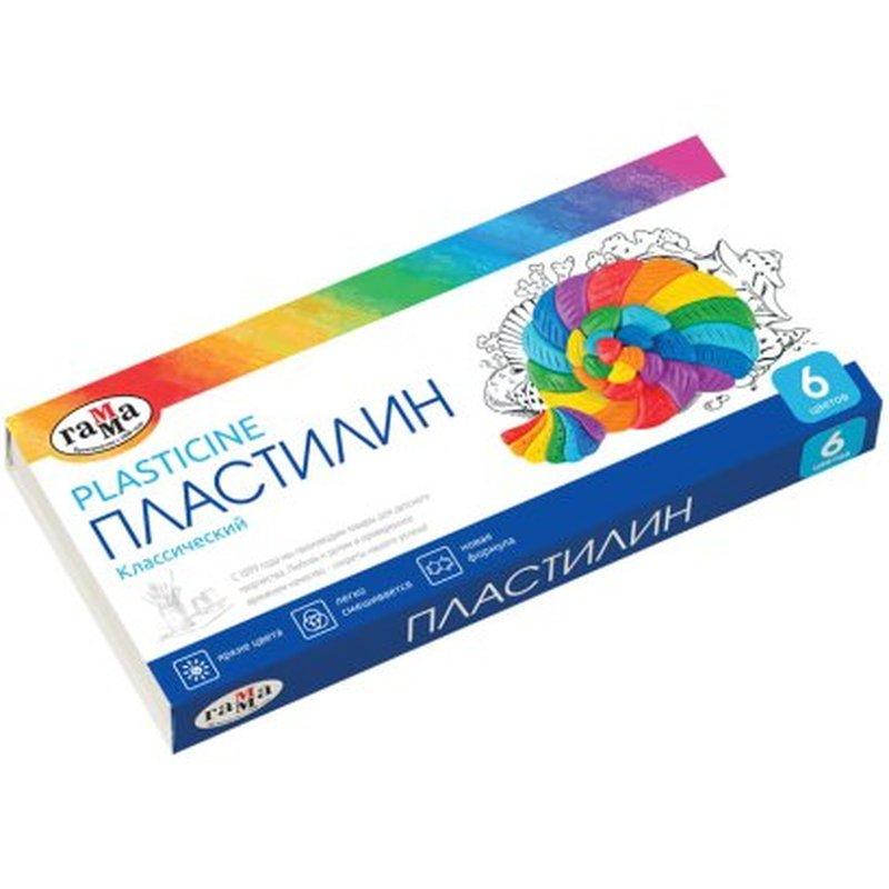 """Пластилин Гамма """"Классический"""", 06 цветов, 120г, со стеком, картон. упак. 281030"""