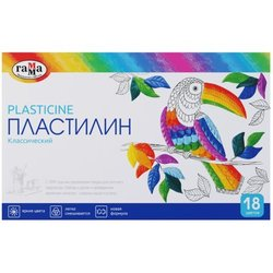 "Пластилин Гамма ""Классический"", 18 цветов, 360г, со стеком, картон 281035"