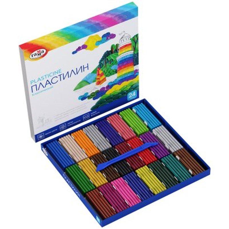 "Пластилин Гамма ""Классический"", 24 цвета, 480г, со стеком, картон 281036"