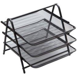 """Лоток для бумаг горизонтальный Berlingo """"Steel&Style"""", 3 секции, металл, черный BMs_41032"""