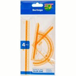 """Набор чертежный малый Berlingo """"Color"""" (треуг. 2шт, линейка 15см, транспортир), прозрачный RS_30104"""