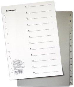 Разделитель листов пластиковый ErichKrause® 12 листов, цифровой (1-12), A4 2712