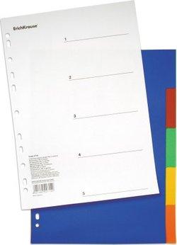Разделитель листов пластиковый ErichKrause® 5 листов, по цветам, A4 2714