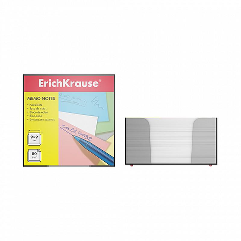 Бумага настольная ErichKrause®, 90x90x50 мм, белый, в пластиковом контейнере 2716