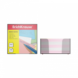 Бумага настольная ErichKrause®, 90x90x50 мм, 2 цвета: белый, розовый, в пластиковом контейнере 2718