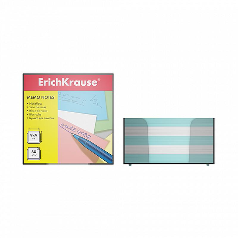 Бумага настольная ErichKrause®, 90x90x50 мм, 2 цвета: белый, голубой, в пластиковом контейнере 2722