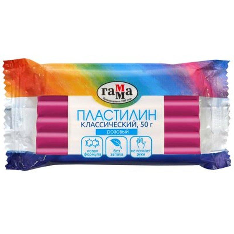 """Пластилин Гамма """"Классический"""", розовый, 50г 270818_07"""