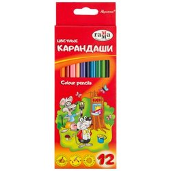 """Карандаши цветные Гамма """"Мультики"""", 12цв., трехгранные, заточен., картон. упак., европодвес 050918_07"""