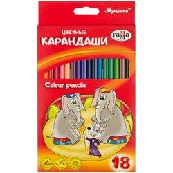 """Карандаши цветные Гамма """"Мультики"""", 18цв., трехгранные, заточен., картон. упак., европодвес 050918_08"""