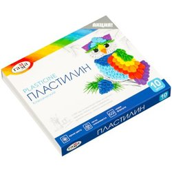 "Пластилин Гамма ""Классический"", 10 цветов, 200г, со стеком, картон 281032"