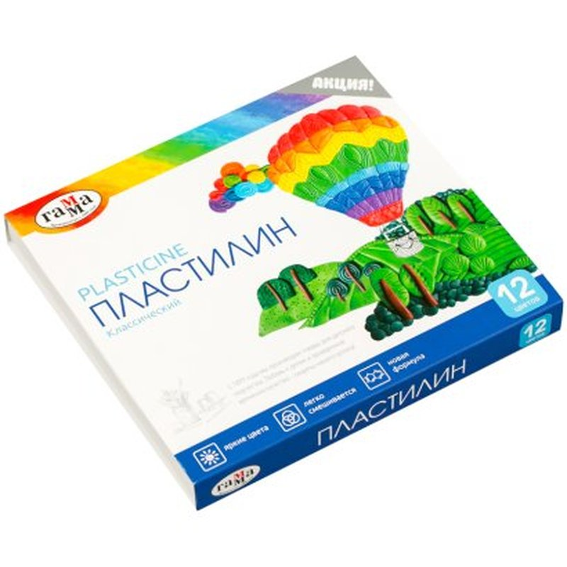 """Пластилин Гамма """"Классический"""", 12 цветов, 240г, со стеком, картон. упак. 281033"""