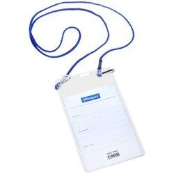 Бейдж вертикальный OfficeSpace, 95*150мм (размер вставки 90*120мм), 2 карабина, на синем шнурке 284642