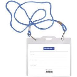 Бейдж горизонтальный OfficeSpace, 125*110мм (размер вставки 120*90мм), 2 карабина,  на синем шнурке 284646