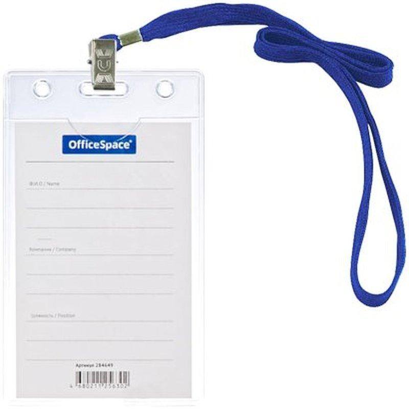 Бейдж вертикальный OfficeSpace, 63*105мм (размер вставки 55*85мм), с клипсой на синем шнурке 284649