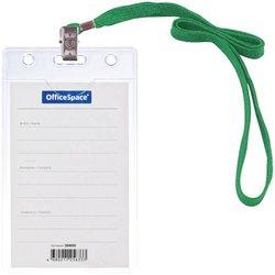 Бейдж вертикальный OfficeSpace, 63*105мм (размер вставки 55*85мм), с клипсой на зеленом шнурке 284650