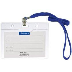 Бейдж горизонтальный OfficeSpace, 100*75мм (размер вставки 85*55мм), с клипсой на синем шнурке 284655