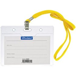 Бейдж горизонтальный OfficeSpace, 100*75мм (размер вставки 85*55мм), с клипсой на желтом шнурке 284659