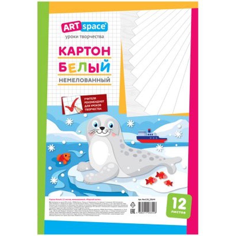 """Картон белый A4, ArtSpace, 12л., немелованный, в пакете, """"Морской котик"""" Нкн12б_28644"""