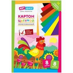 """Картон цветной A4, ArtSpace, 8л., 8цв., немелованный, в папке, """"Петушок"""" Нкн8-8_28651"""