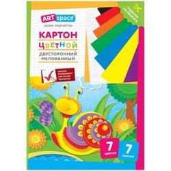 Картон цветной двусторонний A4, ArtSpace, 7л., 7цв., мелованный, в папке Нкм7-7дв_28665